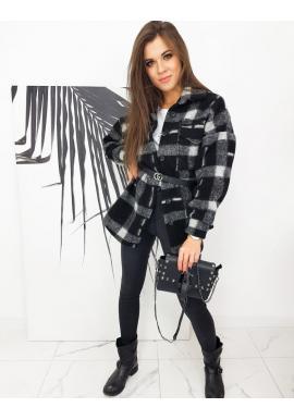 Oversize dámska bunda čierno-sivej farby s kockovaným vzorom