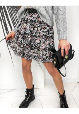 Krátka dámska sukňa sivej farby s kvetinovým motívom