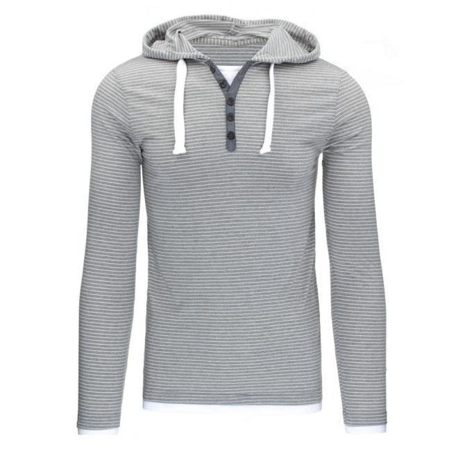 707228dafd Sivé pánske tričko s dlhým rukávom a s kapucňou - skvelamoda.sk