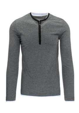 Pánske pásikavé tričko s kapucňou v tmavomodrej farbe