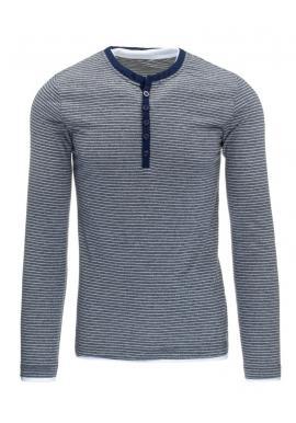 Sivé pásikavé tričko pre pánov s dlhým rukávom