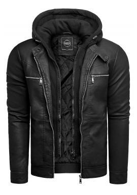 Čierna kožená bunda na jeseň pre pánov
