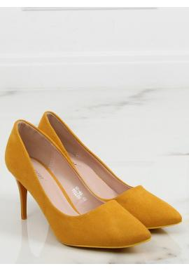 Semišové dámske lodičky žltej farby na štíhlom podpätku