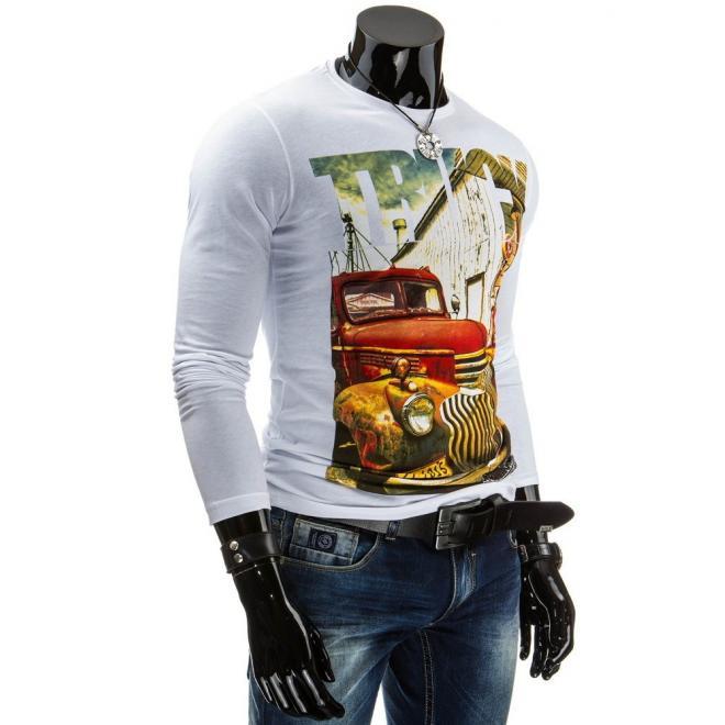 Biele tričko s dlhým rukávom a farebnou potlačou