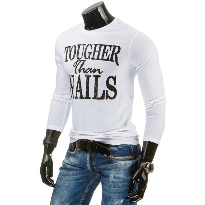 Pánske tričko v bielej farbe s dlhým rukávom a potlačou