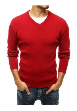 Pánsky klasický sveter s véčkovým výstrihom v červenej farbe