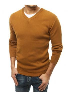 Hnedý klasický sveter s véčkovým výstrihom pre pánov