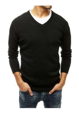 Pánsky klasický sveter s véčkovým výstrihom v tmavosivej farbe
