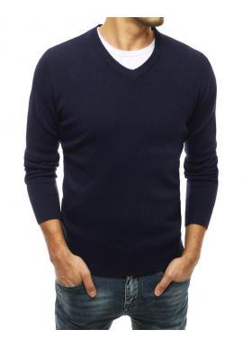 Tmavomodrý módny sveter s véčkovým výstrihom pre pánov
