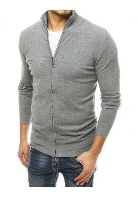 Pánsky zapínaný sveter so stojacím golierom v svetlosivej farbe