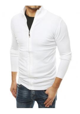 Zapínaný pánsky sveter bielej farby so stojacím golierom