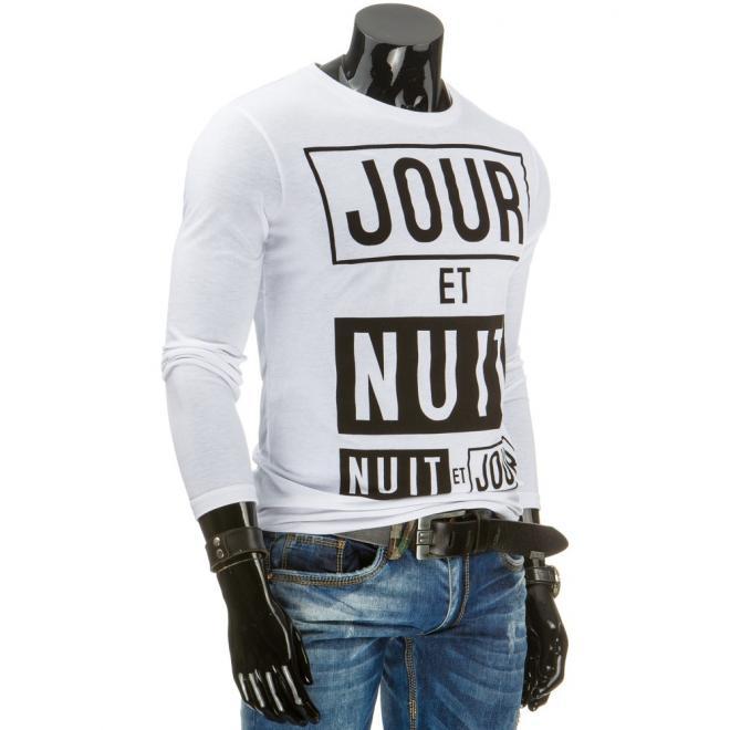 Tričko pre pánov čiernej farby s bielou potlačou