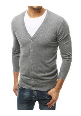 Svetlosivý zapínací sveter s véčkovým výstrihom pre pánov