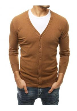 Pánsky zapínací sveter s véčkovým výstrihom v hnedej farbe