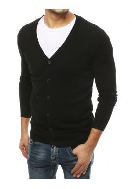 Zapínací pánsky sveter čiernej farby s véčkovým výstrihom