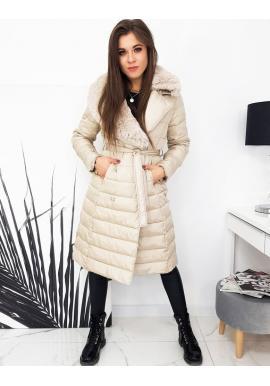 Béžová prešívaná bunda s kožušinou na golieri pre dámy