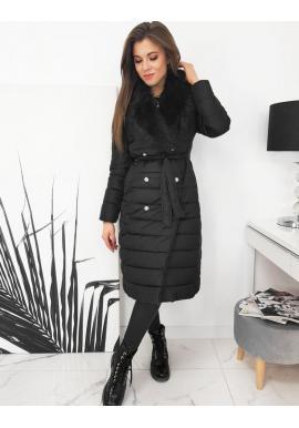 Prešívaná dámska bunda čiernej farby s kožušinou na golieri