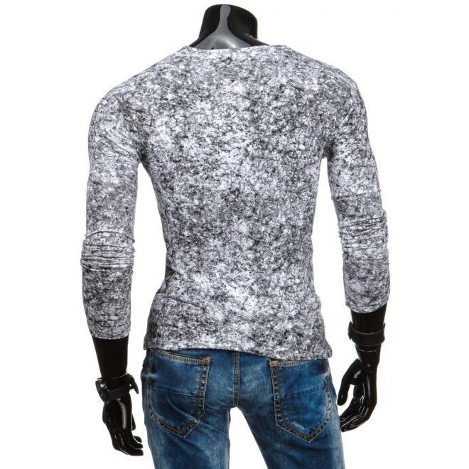 Modré pánske tričko s výstrihom V a potlačou