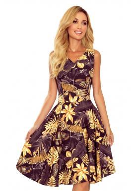 Dámske rozšírené šaty s listami v čierno-žltej farbe