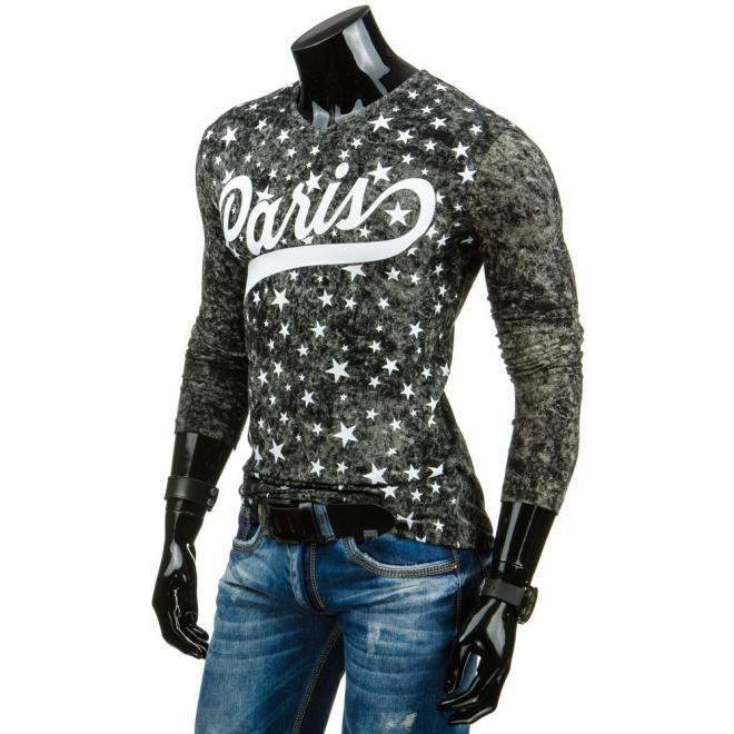 Štýlové pánske tričko čiernej farby s dlhým rukávom