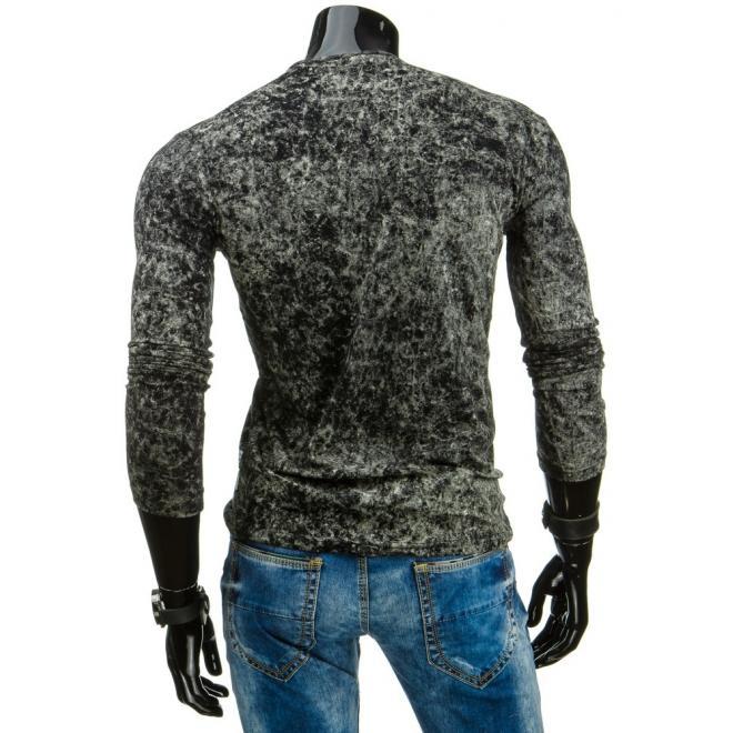 Tričko pre pánov s dlhým rukávom v červeno-bielej farbe