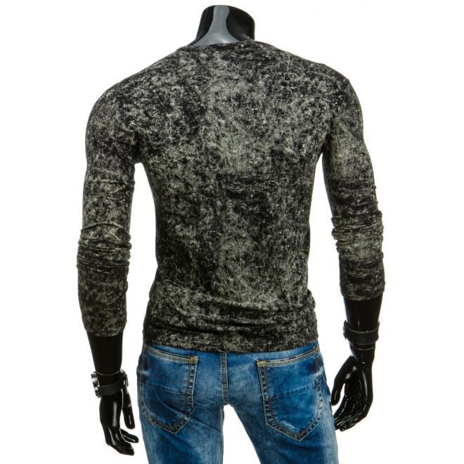 Pánske tričko tmavomodrej farby s dlhým rukávom
