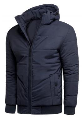 Tmavomodrá zimná bunda s prešívaním pre pánov