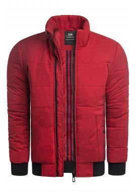 Pánske zimné bundy s prešívaním v červenej farbe