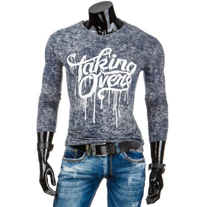 Štýlové pánske tričko v čiernej farbe s výstrihom V