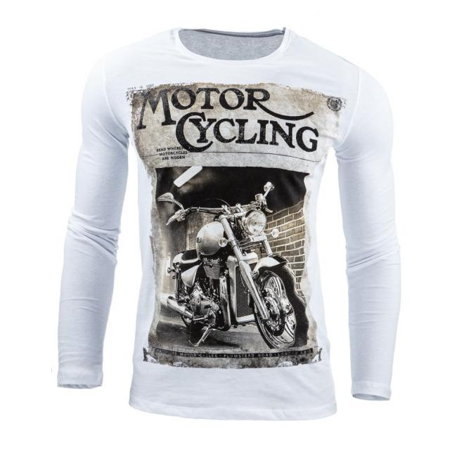 a817ef1c0618 Štýlové pánske tričko bielej farby s potlačou - skvelamoda.sk