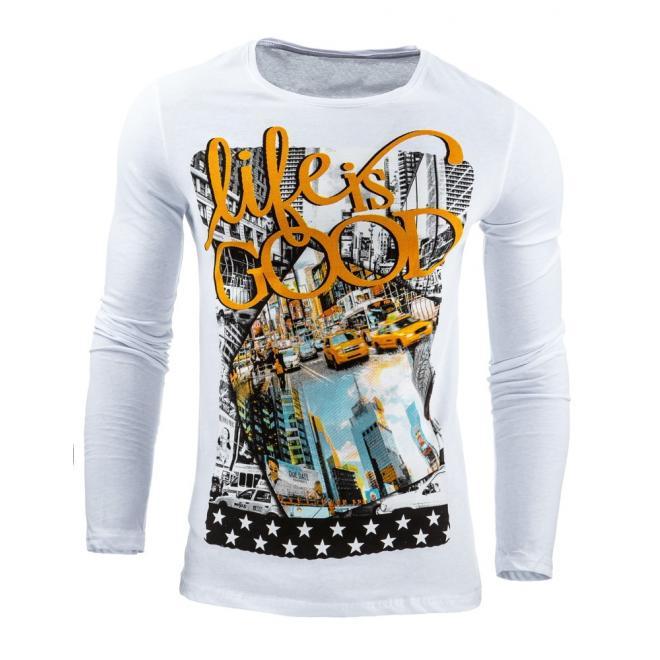 Tričko v bielej farbe s dlhým rukávom a potlačou
