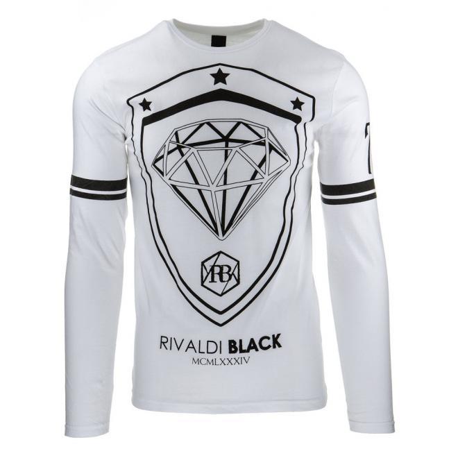 Čierne tričko pre pánov s potlačou a dlhým rukávom