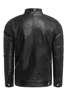 Čierna kožená bunda na zimu pre pánov