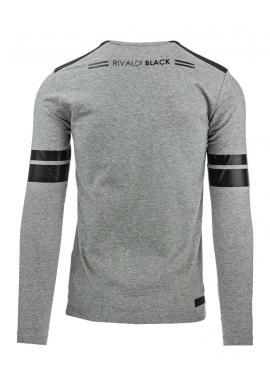 Tmavosivé pánske tričko s čiernou prešívanou potlačou