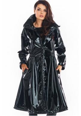 Čierna dlhá vinylová bunda s vysokým golierom pre dámy
