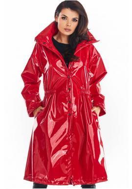 Dlhá dámska vinylová bunda červenej farby s vysokým golierom