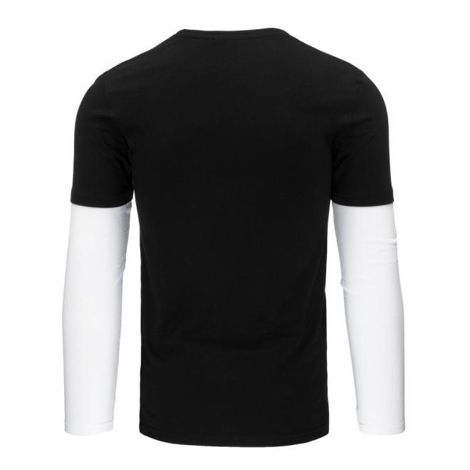 Pánske červeno-čierne tričko s dlhým rukávom