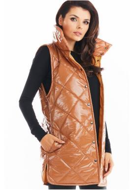 Béžová prešívaná vesta s vysokým golierom pre dámy