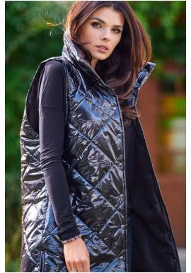 Čierna prešívaná vesta s vysokým golierom pre dámy