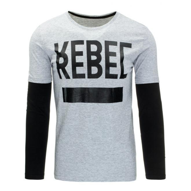 Tričko s dlhým rukávom v čierno-bielej farbe pre pánov
