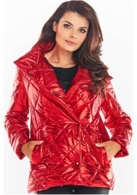 Dámska prešívaná bunda s vysokým golierom v červenej farbe