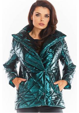Prešívané dámske bundy zelenej farby s vysokým golierom