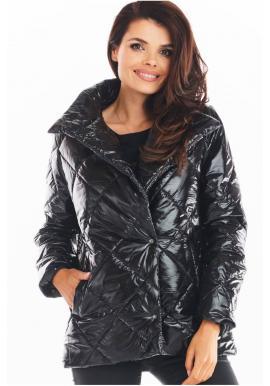 Dámska prešívaná bunda s vysokým golierom v čiernej farbe