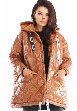 Dámska prešívaná bunda s oversize strihom v béžovej farbe