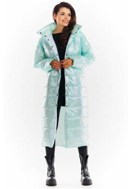 Dlhá dámska holografická bunda mätovej farby s prešívaním