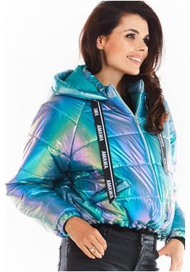 Modrá holografická bunda s oversize strihom pre dámy