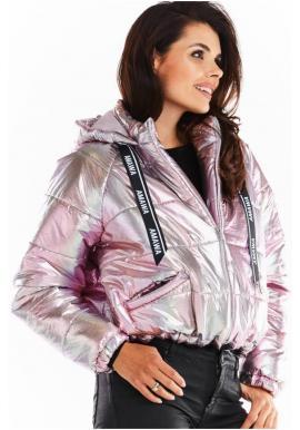 Holografická dámska bunda ružovej farby s oversize strihom