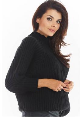 Čierny voľný sveter s polrolákom pre dámy