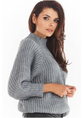 Voľný dámsky sveter sivej farby s polrolákom