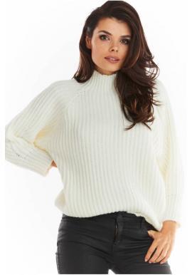 Dámsky voľný sveter s polrolákom vo farbe ecru